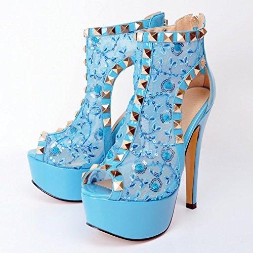 Kolnoo Damen Faschion 14.5cm Niet Bolzen Peep-toe Pumpen Absatz Stilett Partei Kleid Schuhe Blue