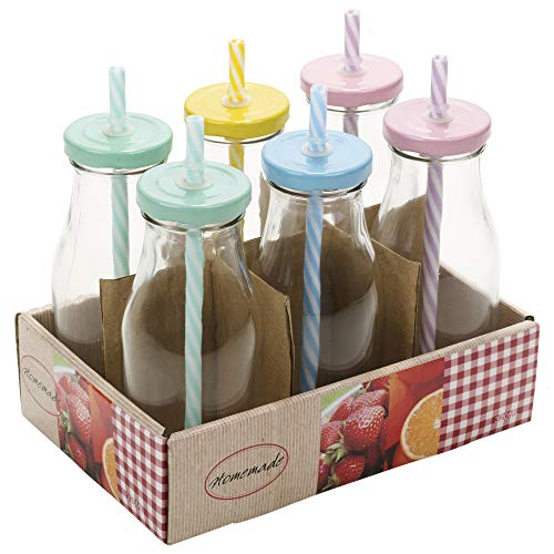 6 Stück Retro Trinkflaschen & Trinkhalme - Flasche Deckel Milch Mit Twist