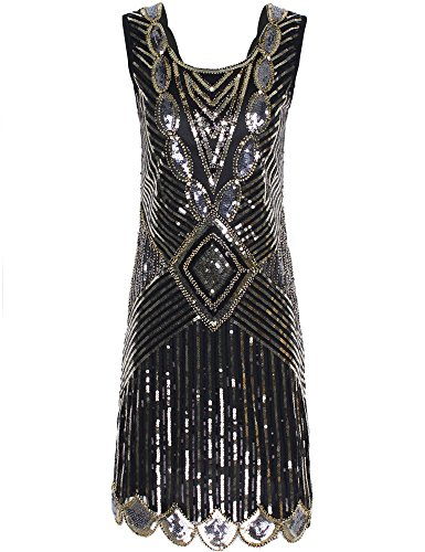 f831d126 PrettyGuide Women 1920s Gatsby Sequin Art Deco Scalloped Hem ...