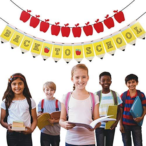 r Apfel Girlande Banner Erster Schultag Dekorationen für Party Dekorationen im Klassenzimmer ()