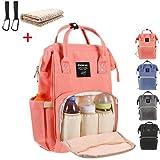 Baby Wickelrucksack mit 2 Pcs Kinderwagen-haken und 1 Pcs Wickelunterlage, Multifunktionale Wasserdichte Wickeltasche mit große Kapazität und warme Tasche, Babytasche für Reise (orange)