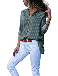 081b0212b91 Aleumdr Womens V Neck Stripe Long Sleeve Loose Fit Button up Color Block Blouses  Tops