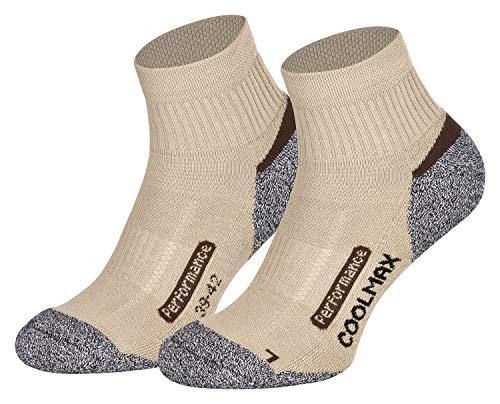 Gepolsterte Sport Quarter Socken (Piarini 2 Paar Coolmax Wandersocken Outdoorsocken Funktionssocken kurz | beige 39-42)