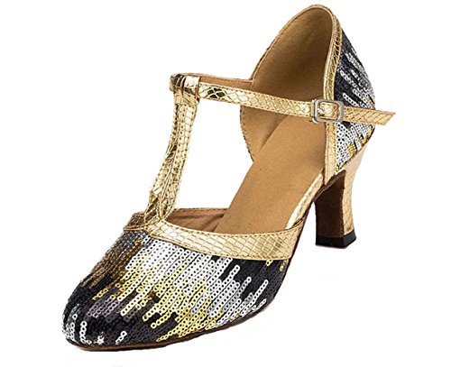 Honeystore Women's Strap Sequin Mid Heel Dress Party Pump Glitter Salsa Tango...