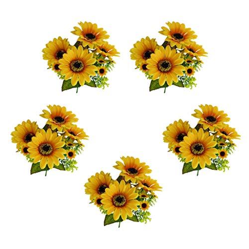 F Fityle 5 Bündel Künstliche Sonnenblume Sommerblumen Blumenstrauß Blumen Stauß Dekoration -