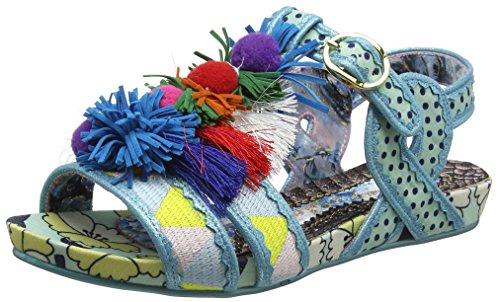 Irregular Choice - Sandalias con Punta Abierta de Tela Mujer, Color Azul, Talla 36