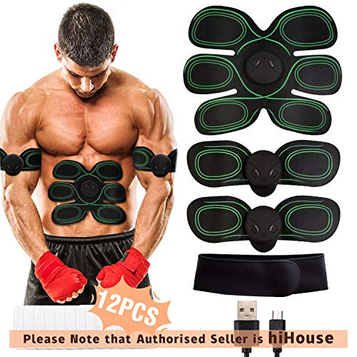 HONITURE Muscle Stimulator, EMS Abs Trainer Abdominal Belt USB Rechargeable Muscles Toner...
