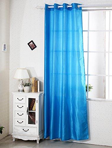 WOLTU VH5474-2, 2er Set Gardinen Vorhang halbtransparent mit Ösen , Vorhänge Doppelpack lichtdurchlässing , 2 Stücke Ösenschal Fensterschal Wohnzimmer Kinderzimmer Raumteiler , 140x245 cm Blau