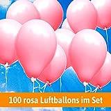 Luftballons für Hochzeit - 100 rosa Luftballons - Luftballons Helium geeignet + Gratis Geschenkkarte
