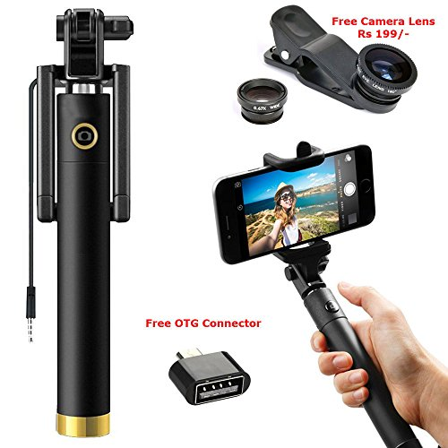 Selfie Combo: Compact Selfie Stick Wired for iPhone and Android...