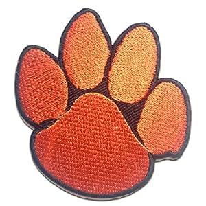 Ecusson - patte de chien animal - rouge - 6.6x7cm - patches brode appliques embroidery thermocollant