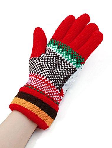 Femmes Five Fingers Cerf Motif Tricot Roulé Côtelé Gants Paire Rouge
