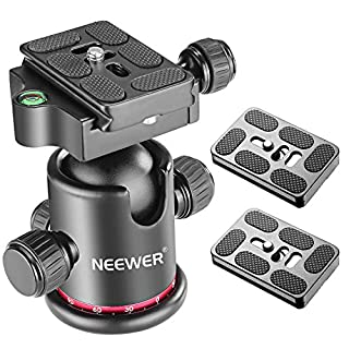 Neewer Photography Metal 360 Degree Rotating Panoramic Ball Head with Universal Quick Shoe plate with Bubble Level for Tripod Monopod DSLR Camera Load Capacity up to 17.6 pounds