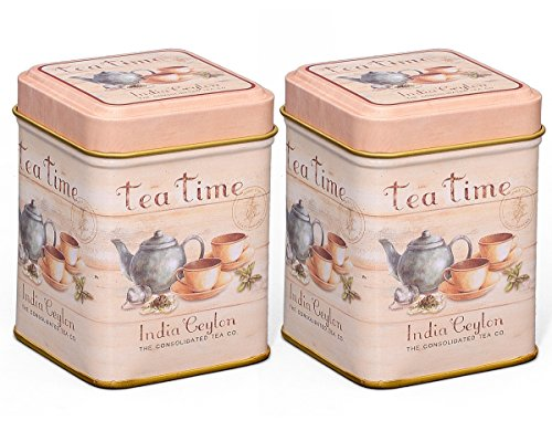 Teedosen Set / Gewürzdosen Set, 2 Stück 'Tea Time' je 50g, 60 x 60 x 80mm (LxBxH) eckig