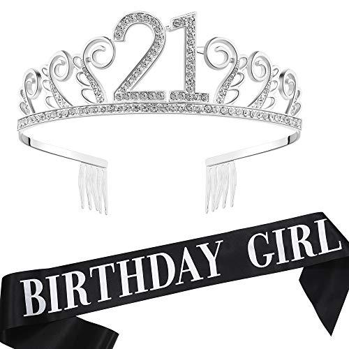 Coucoland Geburtstag Krone mit Geburtstag Schärpe Satin Birthday Crown and Sash Set Geburtstagsdeko Geschenk für Damen Geburtstag Party Accessoires (21 Jahre alt - Silber) (Tiara 21 Geburtstag)