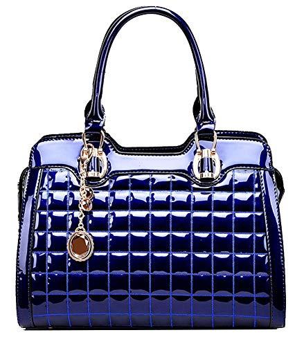 Screenes Handtaschen Damen Gesteppte Echtes Leder Doppelhandgriff Patent Frauen Tote Zupacken Einfacher Stil Beutel Taschen Vintage Elegant Festlich Party Abendtasche -