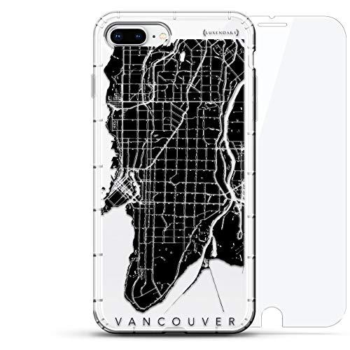 Astronaut Luxendary Air Series 360 Bundle: Transparente Silikonhülle mit 3D-Druck und Luftpolster-Kissen Bumper + gehärtetes Glas für iPhone 8/7 Plus in Transparent, Vancouver, Straßenkarte, farblos