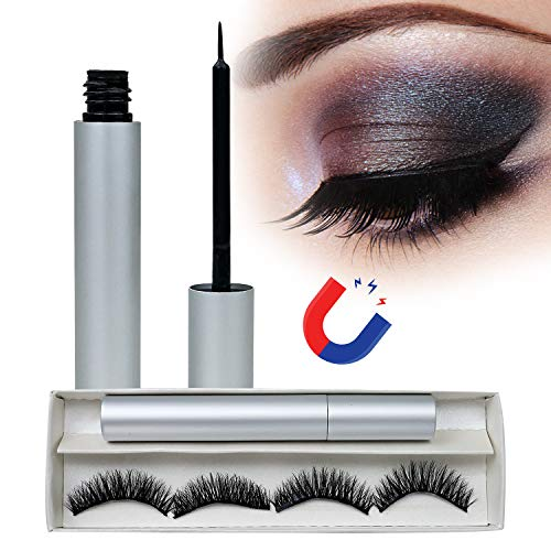 Magnetischer Eyeliner Mit 3D Magnetischen Falschen Wimpern, Magnetic Eyeliner Eyelashes Kit Wasserdichter Langlebiger, Wiederverwendbare Falsche Magnetic Eyelashes Natural Look -