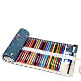 abaría - Estuche Enrollable para 48 lápices Colores, portalápices de Lona - Flor de Ciruelo (no Tiene lápices)
