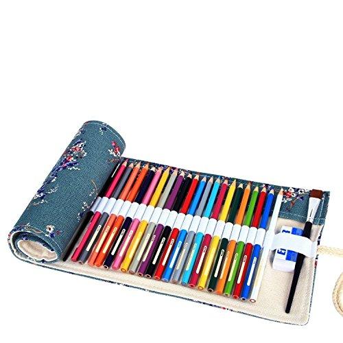 Amoyie - sacchetto della matita portamatite arrorolabile per pennarelli o matite colorate tela borsa - prugna 36 holes