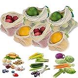 Exptool Obst- und Gemüsebeutel mit Gewichtsangabe, 6er Set Wiederverwendbare Einkaufstaschen aus Baumwolle, Produzieren Taschen Gemüsenetze für den plastikfreien Einkauf