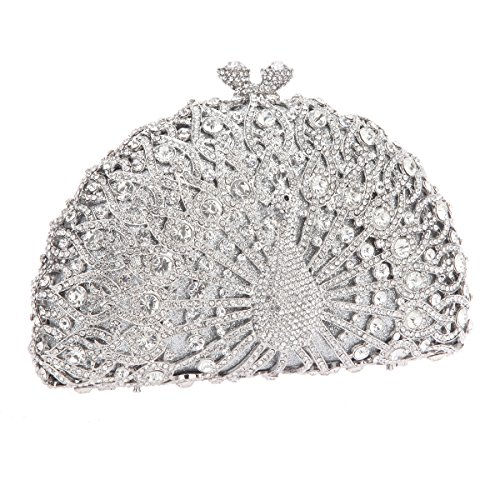 Bonjanvye Glitter Crystal Peacock Clutch for Girls Peacock Clutch Evening Bag Dark Blue silver
