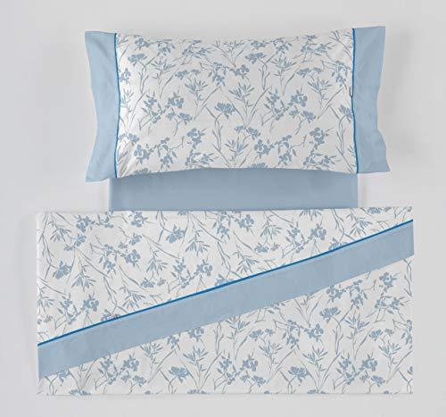 ES-Tela - Juego de sábanas Estampadas Paola Color Azul 4 Piezas - Cama de 150 cm. - 50% Algodón/50%...
