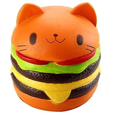 Biging 4 Inch Kawaii Cat Hamburger Bread Squishies Jumbo Slow Rising Stress Relief Squeeze Toy