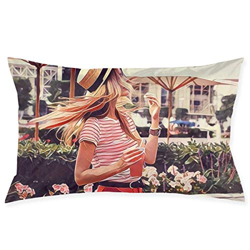 Jxrodekz Mädchen mit Hüten im Sommer Kissenbezug Mikrofaser Schlafzimmer Wurfkissenbezug mit Reißverschluss 20x30 Zoll Größe (Hüten Halloween-katzen Mit)