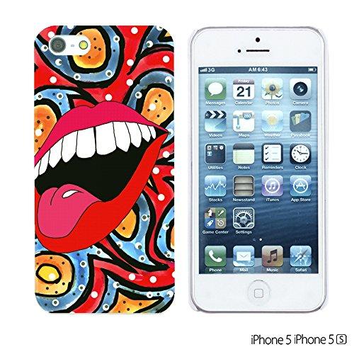 OBiDi - Funny Pattern Hardback Case / Housse pour Apple iPhone SE / Apple iPhone 5S / 5 - Graffiti Art Lip In Red Paisley Bacground
