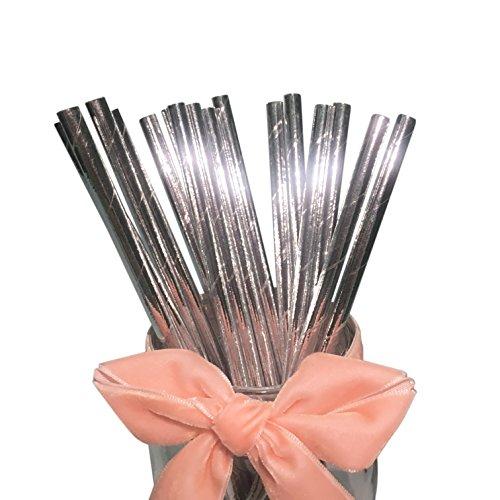 Bofa Eco Tableware Papier-Strohhalme, solide, biologisch abbaubar, Trinkhalme, Dekorationen für Party, Geburtstag, Hochzeit (Silber glitzernd), 100 Stück