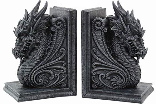 Drachen Buchstützen - Drachenköpfe - Drachen Buchstützen