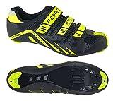 Force - Zapatillas de ciclismo de carretera con velcros, color negro y amarillo neón Negro Size: 39 EU
