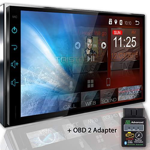 Tristan Auron BT2D7018A Autoradio mit Navi + OBD 2 Adapter, 7'' Touchscreen Bildschirm, Android 8.1, GPS Navi, Bluetooth Freisprecheinrichtung, Quad Core, MirrorLink, USB/SD, OBD 2, DAB+, 2 DIN