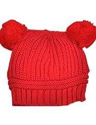 Süß Kinder Baby BeanieMütze Hut Kids Hat Cap Kinderfoto (Rot)