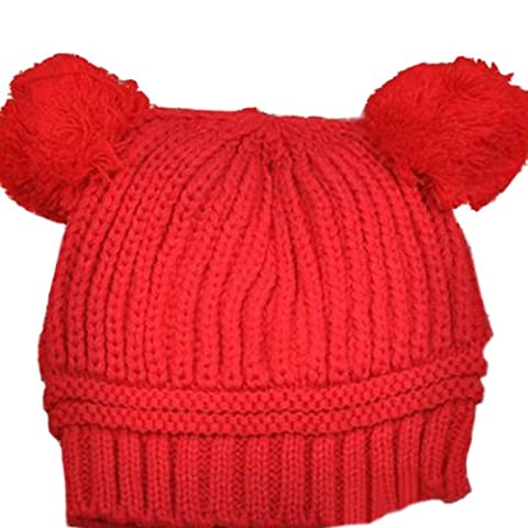 Baby Girls Boys Kids Knit Cap Winter Warm Hat (Red)