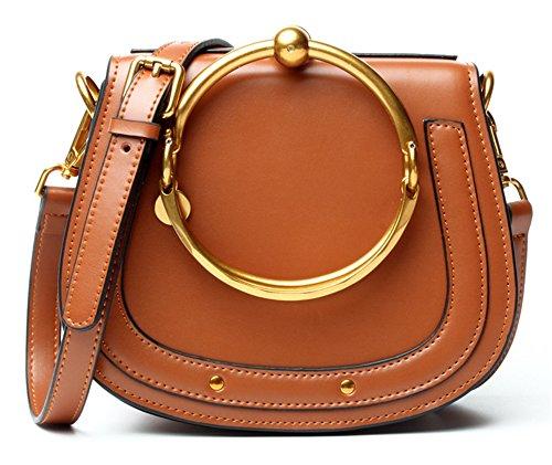Xinmaoyuan Handtaschen der Frauen einfach Leder Handtasche Metallring Paket weiblichen Sattel Bag Schulter Messenger Bag, Blau Weiß