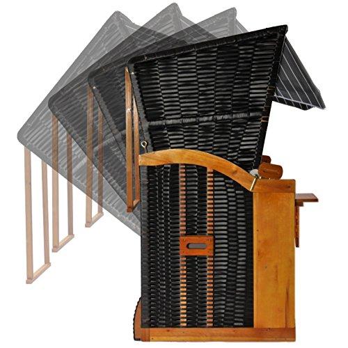 Strandkorb Ostsee Bansin Einsitzer Modell AOGGR4, Korpus schwarz mit Schutzhülle, Strandkörbe aus Holz und Poly-Rattan ideal für Garten Terrasse Balkon, Premium Single Strandstuhl mit Abdeckhaube 90cm - 6