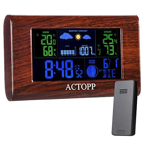 ACTOPP Funkwetterstation mit Außensensor Digital Wetterstation Thermometer-Hygrometer mit Farbdisplay Innen-/Außentemperatur Wettervorhersage Aktuelle Uhrzeit und Alarme für Zuhause Garten