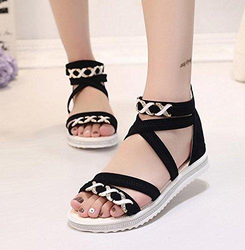 Offene Sandalen weibliche Kreuzgurt flache Schuhe mit flachen Schuhen wilde Schüler Black