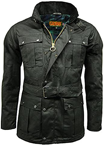 Men's Game 100% Waxed Cotton Biker Jacket Continental Belted Biker Wax Motorcycle Jacket (Small, Black)