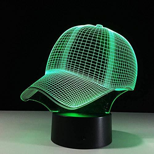 WLGG Baseball Cap 3D Visuelle Stereo Licht Nachtlicht Touch Fernbedienung Bunte Farbverlauf Tischleuchte Led Möbel Geschenk Schreibtischlampe Lighging Nachttischdekoration