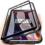 Colala Kompatibel Hülle OnePlus 6T Magnetische Adsorption Technologie Handyhülle [+1 Stück Panzerglas][Metallrahmen], Transparent Gehärtetes Glas Rückseite Schutzhülle,für OnePlus 6T - Schwarz