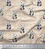 Soimoi Weiß Baumwoll-Voile Stoff Flasche & Panda dots