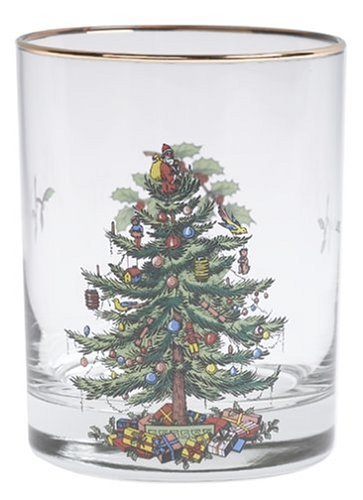 Spode Christmas Tree DOF Glasses with Gold Rims, 14 Ounce-Set of 4 by Spode Spode Christmas Tree Glass