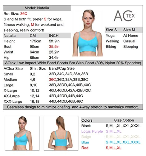 ACtex Frauen Low Impact Breiter Soft-Band Stretch-Strap Fitness Walking-BH mit abnehmbaren Pads Helles Lila
