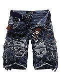 Letuwj Herren Cargo Shorts Vintage Kurze Hose Sport Outdoor Camouflage Sommerhose Blau XL