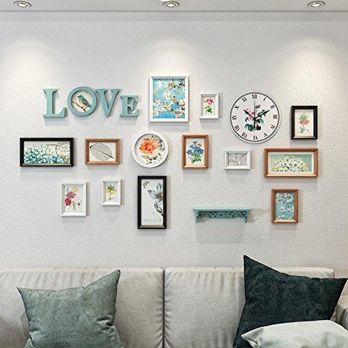 Antik Schwarz Walnuss (Unbekannt Bilderrahmen*Die Einrichtung ist antike Wandmalerei eine einfache Wand Kunst Sofas im Wohnzimmer Wände, weiß/Schwarz/Walnuss Farbe/Hellblau (Zeit Eindruck der Zelle))