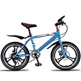 LISI Bicicleta de montaña para niños Bicicleta 18/20 Pulgadas Freno de Disco Amortiguador de una Sola Velocidad para niños Bicicleta 5 Color Opcional,Blue,18'