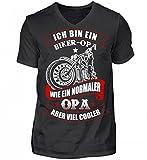 Hochwertiges Herren V-Neck Shirt - Biker Opa Motorrad Fahrender Großvater Motorradfahrer Geschenk